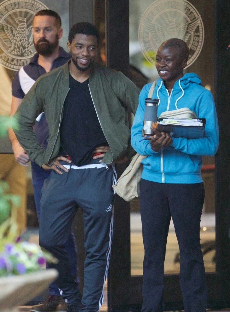 Danai Gurira and Chadwick Boseman on the set of 'Black Panther'